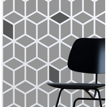 Cube  / Reusable Allover Large Wall Stencils for Painting