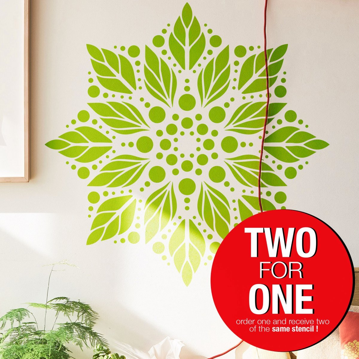LEAF MANDALA / Reusable Allover Large Wall Stencils for Painting