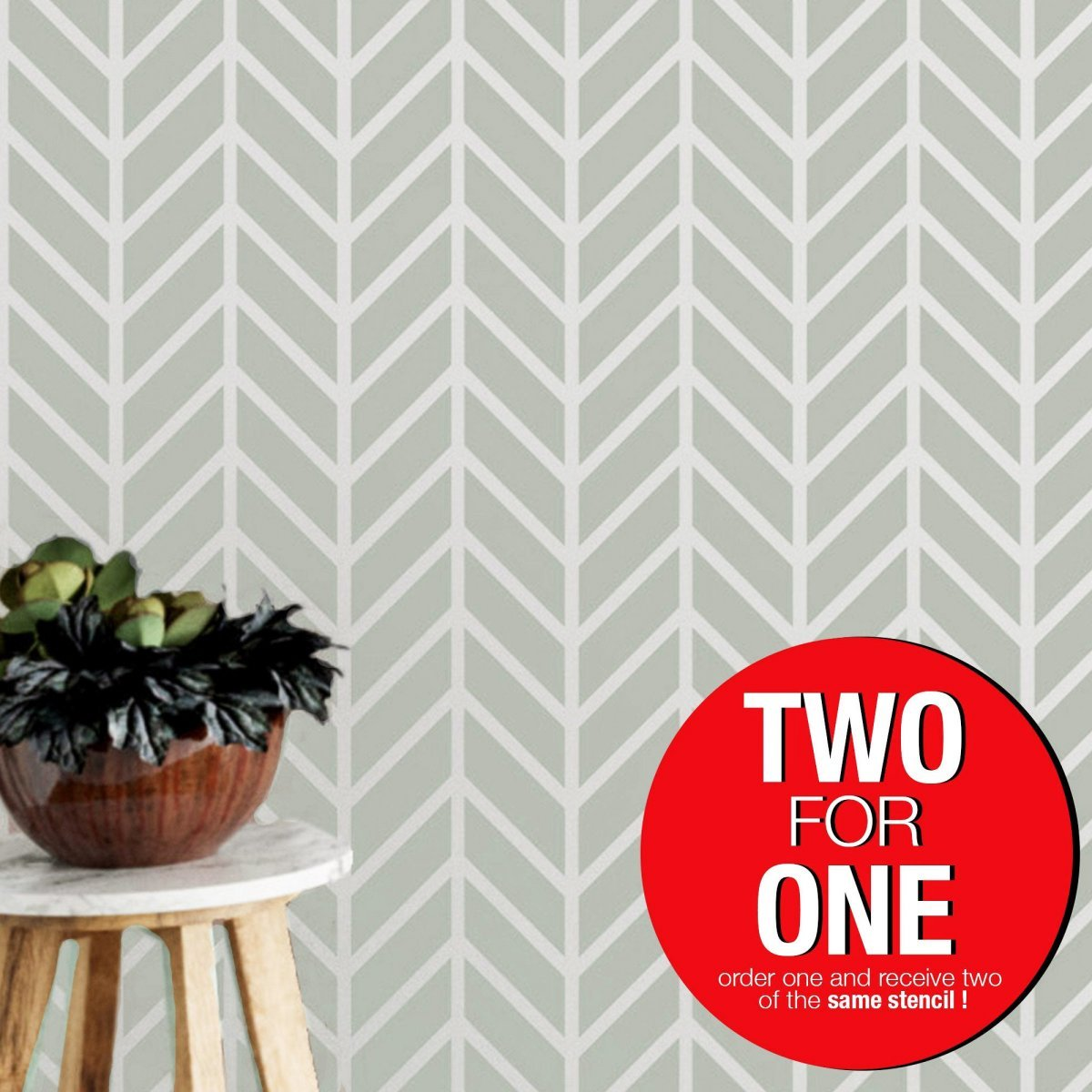 CHEVRON II / Reusable Allover Large Wall Stencils for Painting