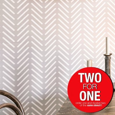 HERRINGBONE / Reusable Allover Large Wall Stencils for Painting