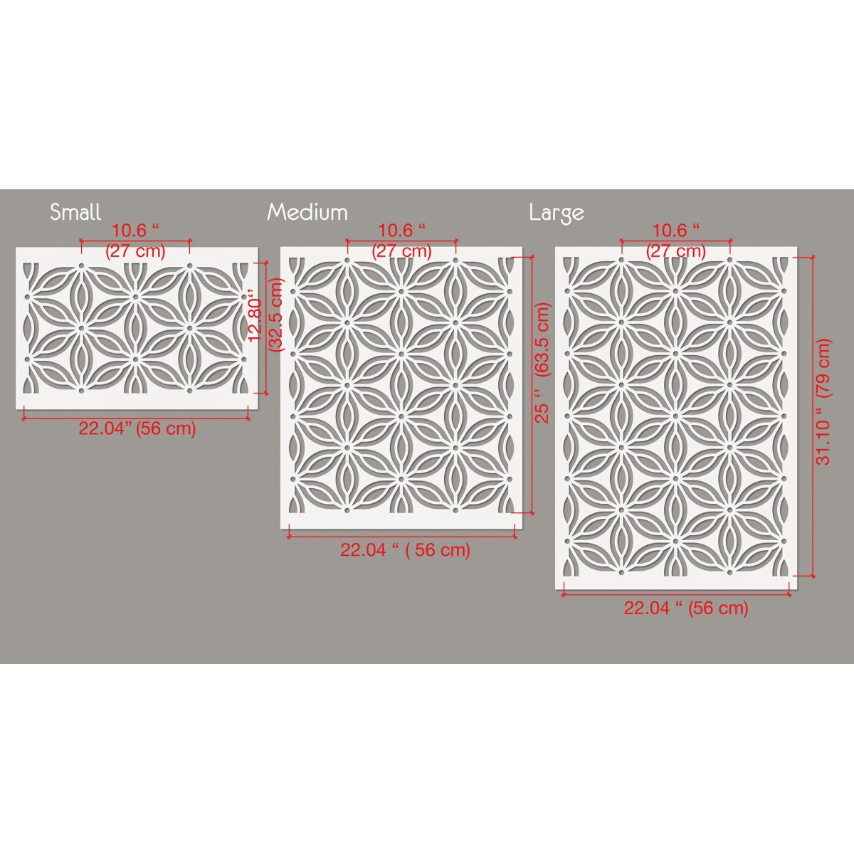 DANCE OF FLOWERS / Reusable Allover Large Wall Stencils for Painting