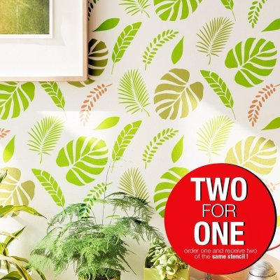 TROPICAL FOREST I / Reusable Allover Large Wall Stencils for Painting