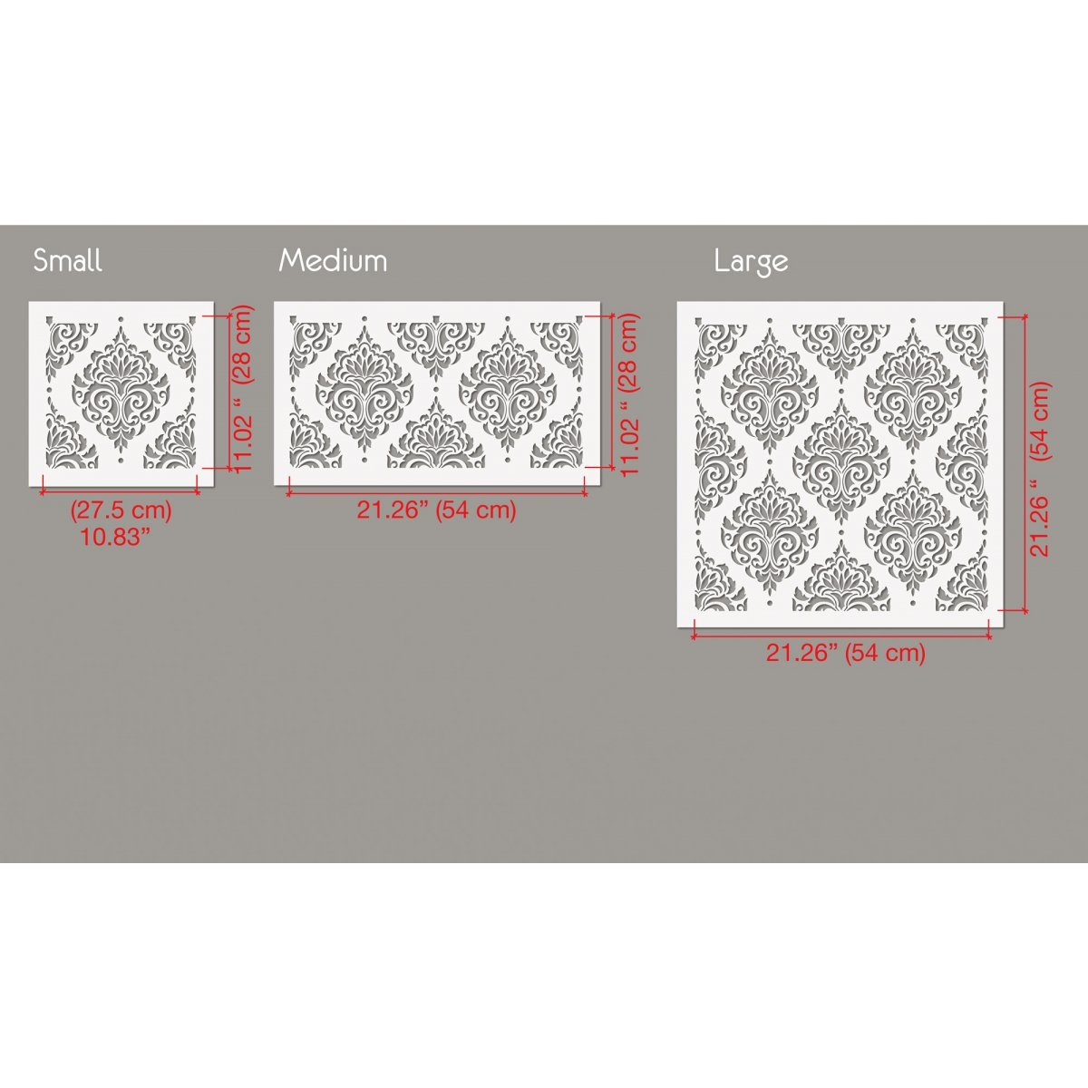 FLOWER DAMASK / Reusable Allover Large Wall Stencils for Painting