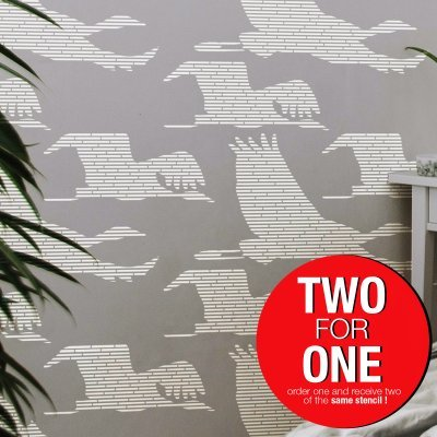 STORK MIGRATION / Reusable Allover Large Wall Stencils for Painting