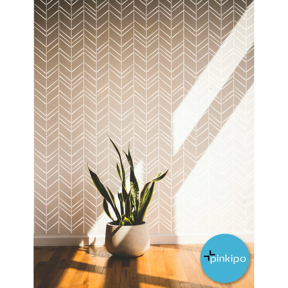 HERRINGBONE Shuffle / Reusable Allover Large Wall Stencils for Painting