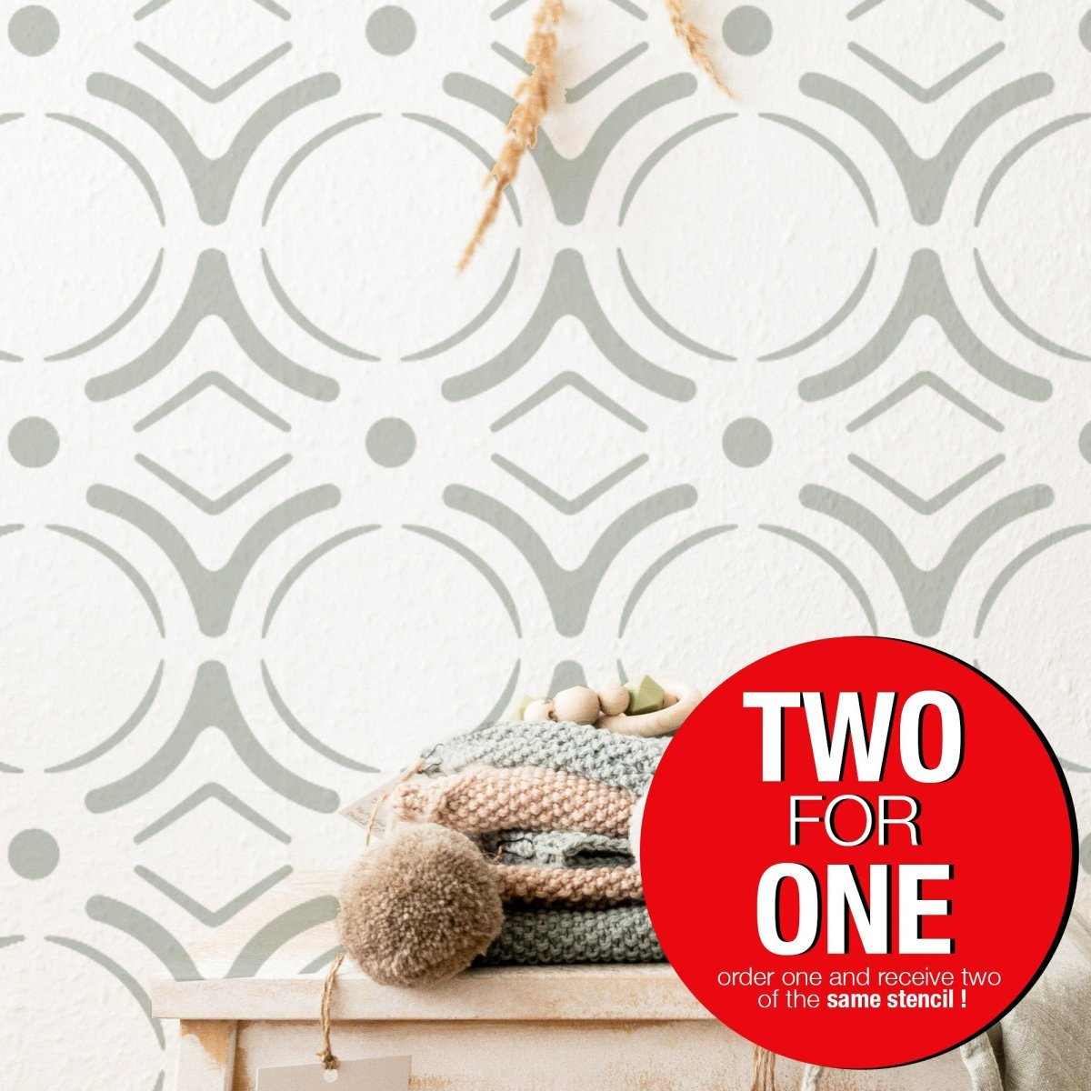MOROCCAN CIRCLE / Reusable Allover Large Wall Stencils for Painting
