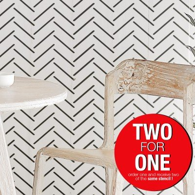 HERRINGBONE ILLUSION / Reusable Allover Large Wall Stencils for Painting