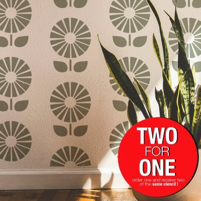 SUNFLOWER / Reusable Allover Large Wall Stencils for Painting
