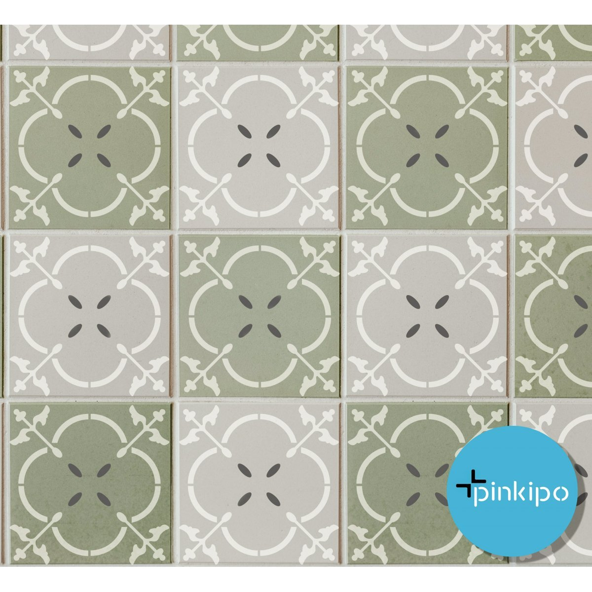 TURQUOISE TILE STENCIL / Reusable Allover Large Wall Stencils for Painting