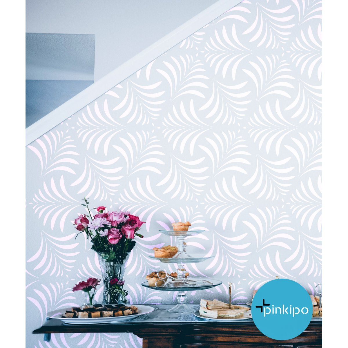 MILAS LEAVES / Reusable Allover Large Wall Stencils for Painting