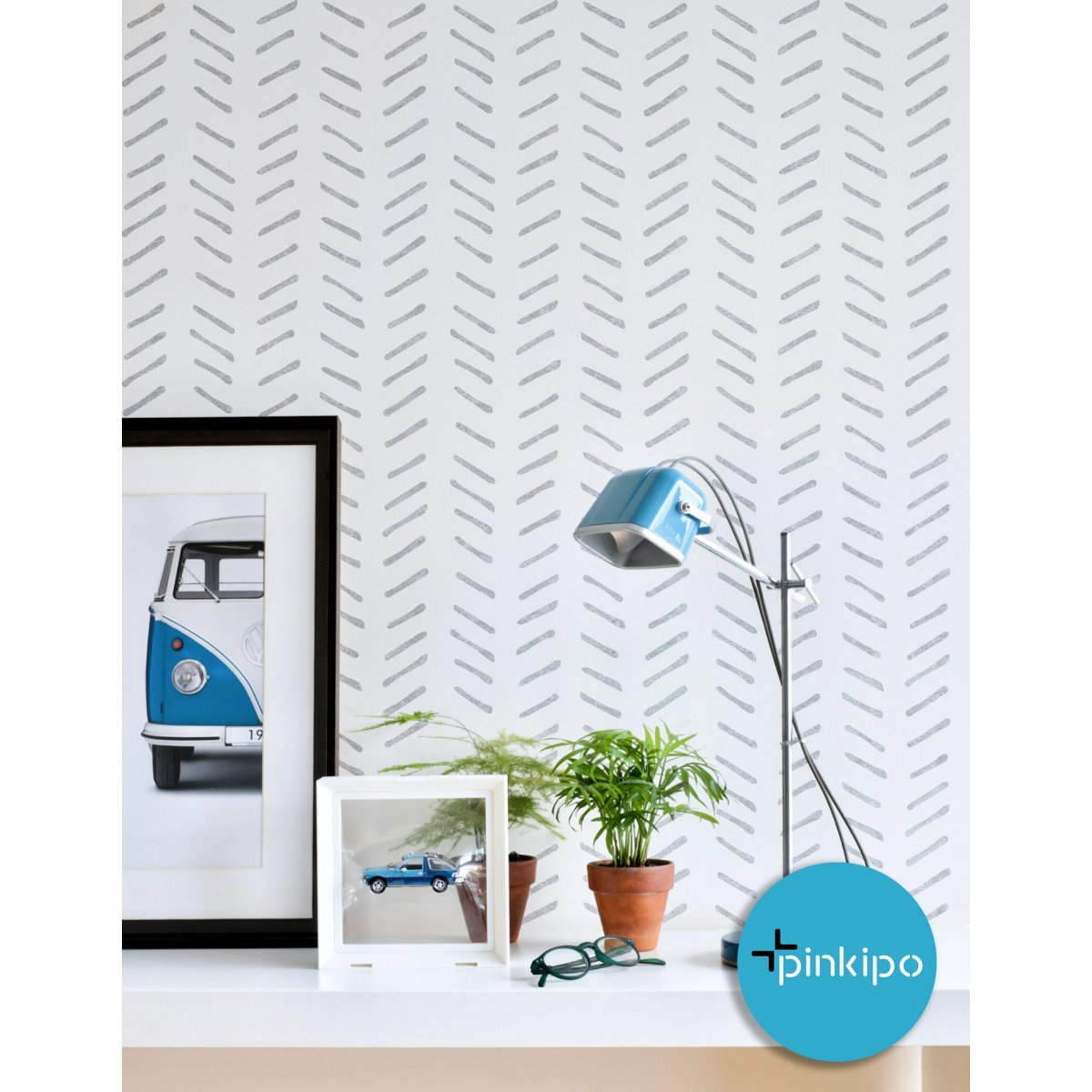Priene / HERRINGBONE Hand Drawn / Reusable Allover Large Wall Stencils for Painting