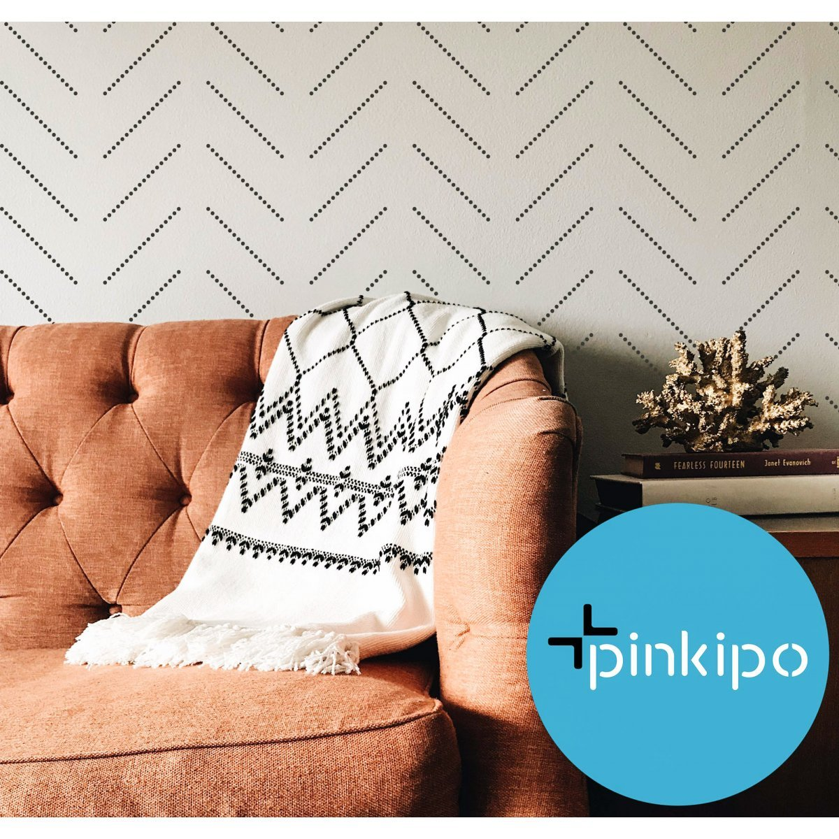 ASSOS / HERRINGBONE DOTTED / Reusable Allover Large Wall Stencils for Painting